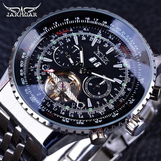 Relógio Masculino Jaragar Série Aviador Turbilhão Automático