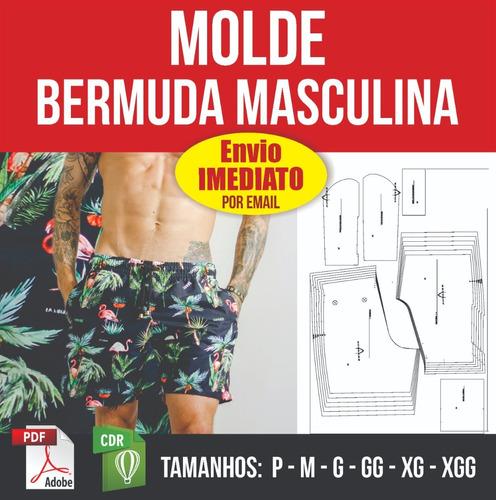 Molde Bermuda Masculina - P Ao Xgg Em Pdf E Corel - Digital