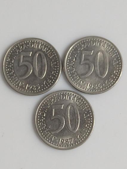 Monedas De Yugoslavia,50 Dinara Años-1985-86-87