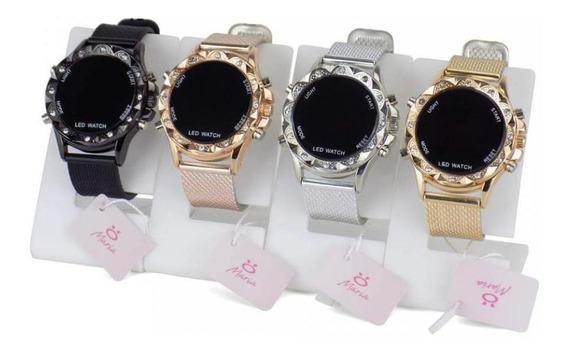 Kit 4 Relógios Pulso Led Femininos Originais Garantia Oferta