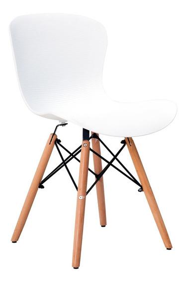 Silla Eames En Plastico Pp Y Patas En Madera- Riviera Blanca