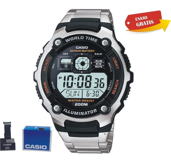 Casio Ae2000 Acero Hora Mundial Wr200 Iluminator Crono Alarm