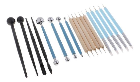 herramientas de esmalte de cer/ámica cera herramientas de escultura de barro de porcelana 6 piezas de herramientas de talla de escultura de arcilla con 12 extremos diferentes mango de madera