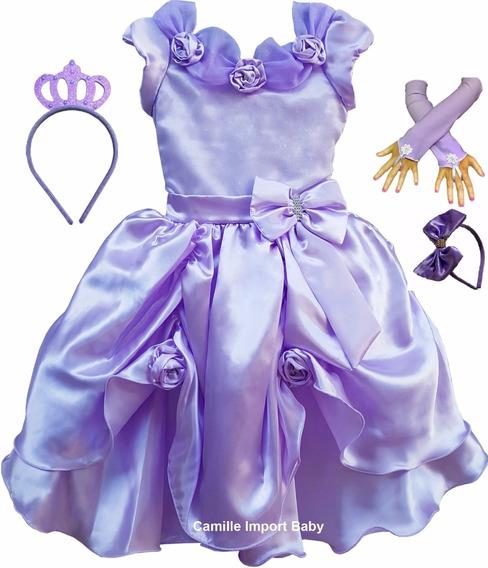Vestido Infantil Princesa Sofia Rapunzel Luxo Coroa Luvas