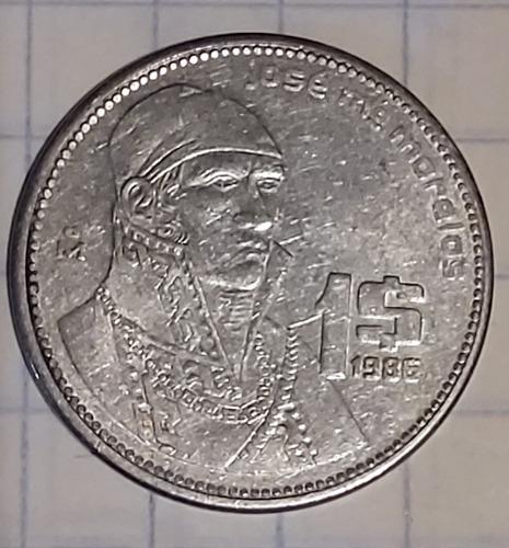 Imagen 1 de 2 de Moneda De 1 Peso De 1986  Con Error En La Escritura
