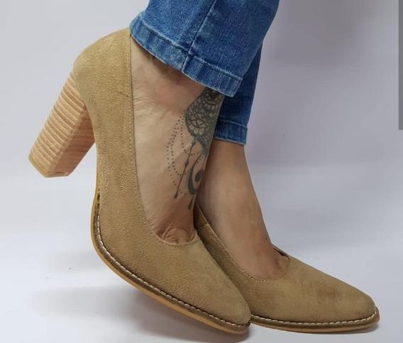 Zapato Stiletto Beige Gamuza Tac Madera Nuevos 39 40 Últimos