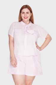 Camisa Vichy Plus Size Rosa-52