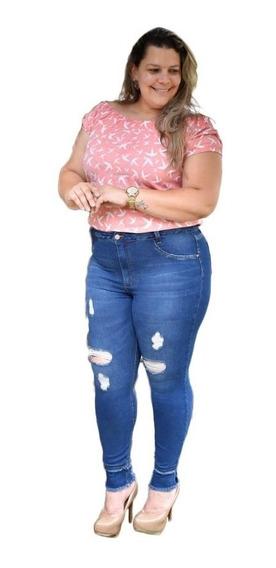 Calça Jeans Plus Size Gordinhas Roupas Femininas Rasgadinha