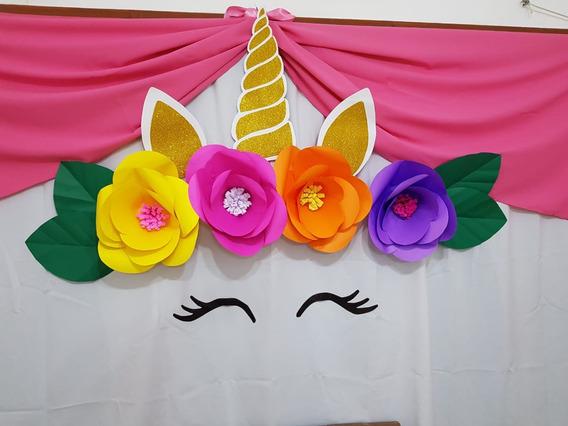 Unicornio Flores De Papel Para La Pared