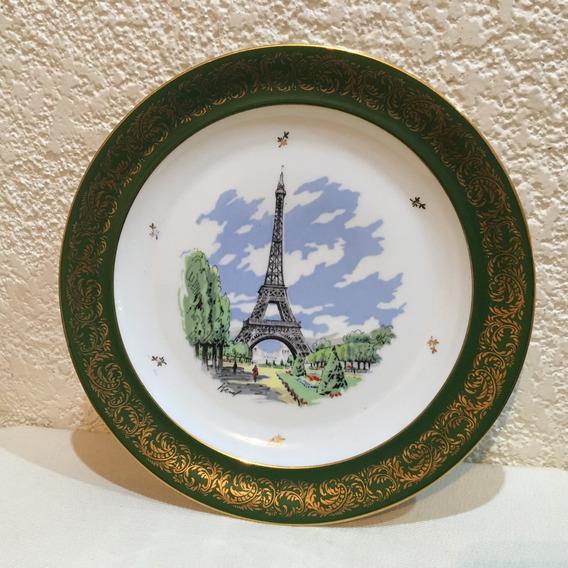 Plato De Porcelana Limoges Torre Eiffel - Diametro: 25 Cm.