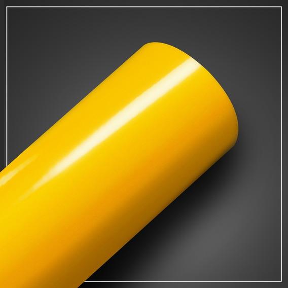 Vinil Adesivo Amarelo Envelopamento Geladeira Carro Contact Rolo 1,00x0,50m Full