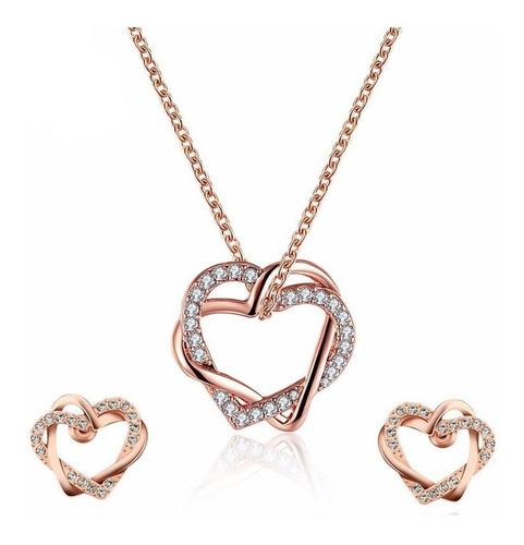 Set Collar+aretes Mujer Corazones Entrelazads Oro Rosa18k Lb