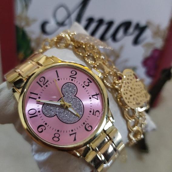 Kit Com 5 Relógios Feminino Sortidos Mais Caixas Acrílicas