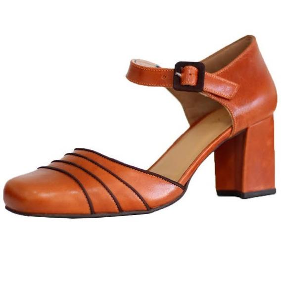 Sapato Boneca Salto Grosso Vintage Retrô Em Couro 5986