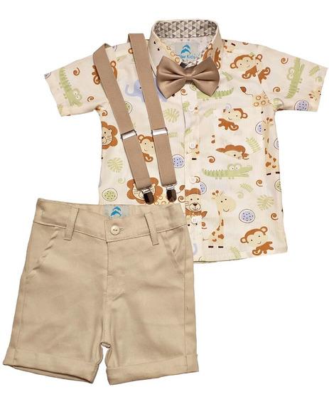 Conjunto Infantil Roupa De Aniversário Com Camisa Social Safári Bermuda Social Suspensorio E Gravata Roupa De Festa