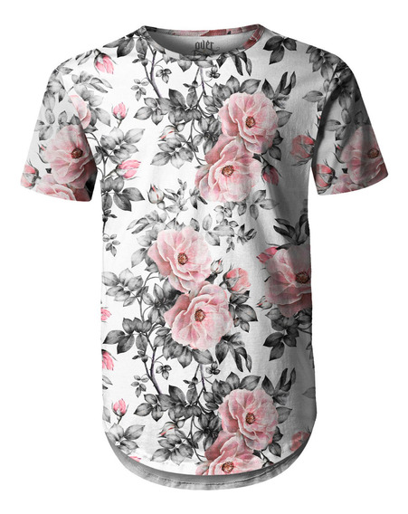 Camiseta Masculina Longline Swag Floral E Folhas