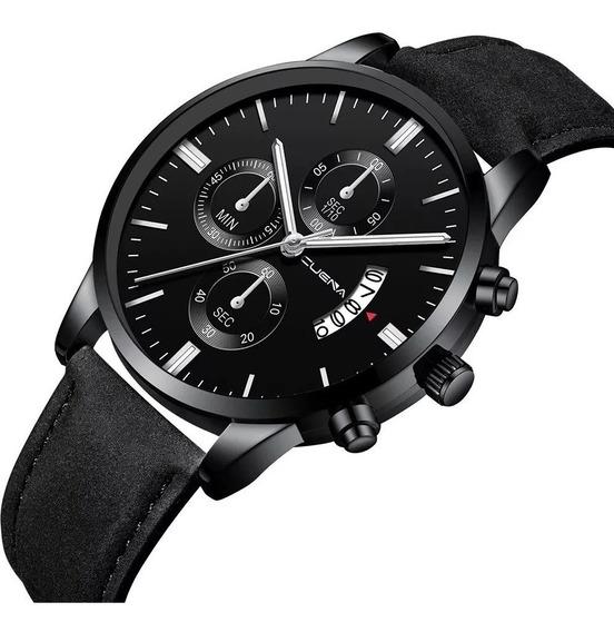 Relógio Masculino Couro Original Quatz Com Caixa