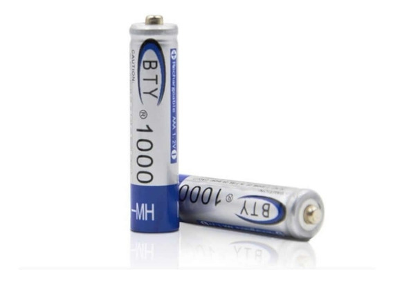 Bateria Pila Recargable Triple Aaa Par 1000 Mah 1.2v 2 Unid