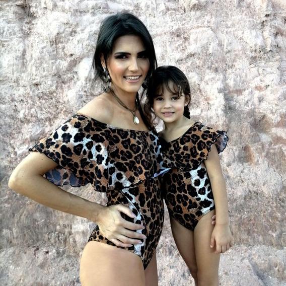 Maiô Body Mãe E Filha Iguais Babados Ciganinha Oncinha Uv50