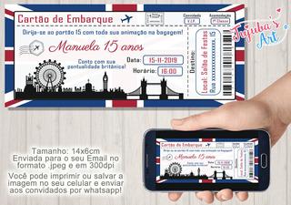 Arte Digital Convite Ingresso Passaporte Londres #mod2