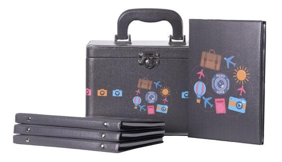 Caixa Box 4 Álbuns Fotográficos 15x21 -240 Fotos Bebê Maleta