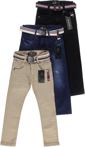 Kit 3 Calça Jeans Masculina Infantil Meninos 1 A 16