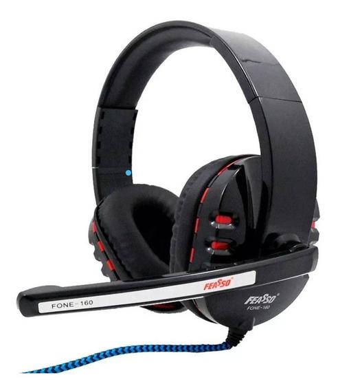 Fone De Ouvido Headset Gamer Feasso Cabo Nylon P2 Stereo.