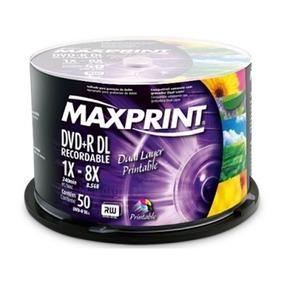 Midia Dvd-r Dual Layer Maxprint Printable Tubo Com 50 Unid.