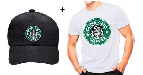 Imagem 1 de 3 de Kit Camiseta Estampada Guns And Coffee - Branca + Boné