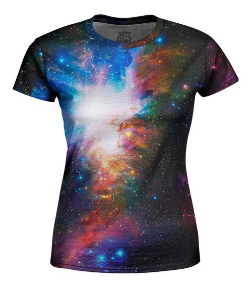 Camiseta Baby Look Feminina Galáxia Estampa Total