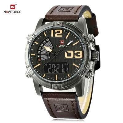 Relógio Analógico E Digital Naviforce Nf9095m Marrom Escuro