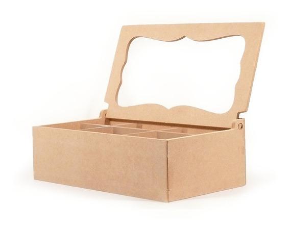Caja De Te Con Vidrio 6 Divisiones Fibrofacil Oferta X6 !