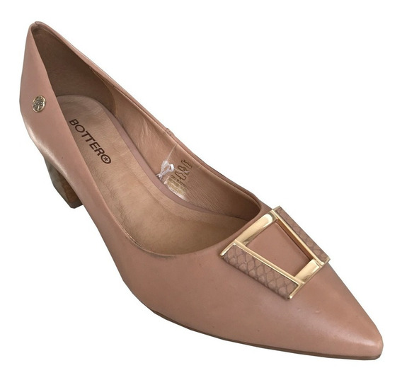 Sapato Scarpin Bottero 316326 Couro C/ Fivela Salto Quadrado