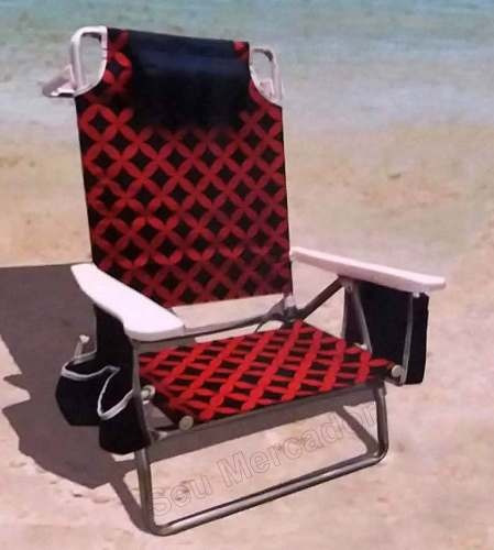 Cadeira De Praia Dobrável Colorida 5 Posições Com Porta Lata