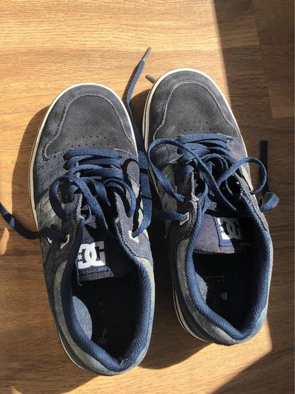 Zapatillas Hombre Dc Azules Combinadas Con Jean