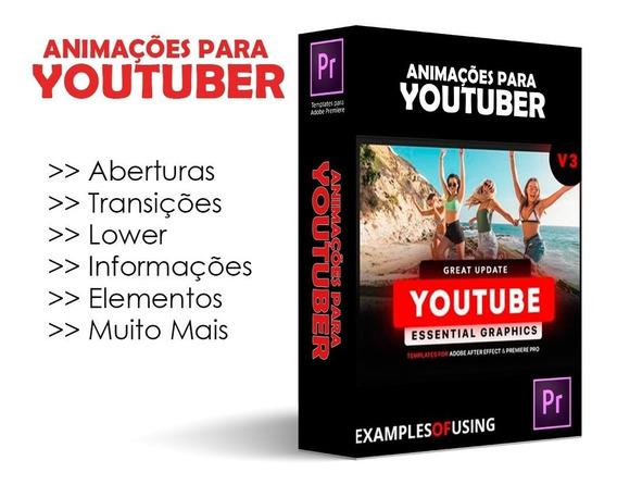Projetos Editáveis Adobe Premiere Youtube Intro Transições