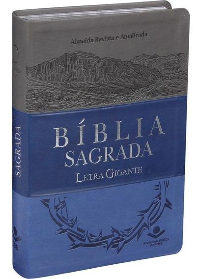 Bíblia Sagrada Masculina Letra Gigante Couro Azul E Cinza