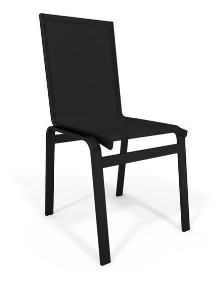 Cadeira Jantar Area Gourmet Alumínio Preto Tela Preto