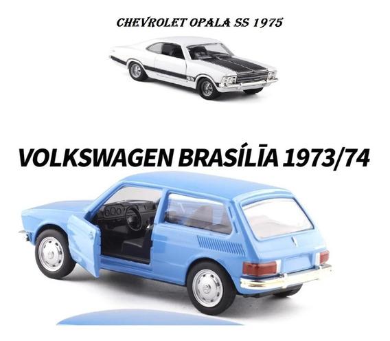 2 Miniaturas Gm Opala E Vw Brasilia Coleção Carros Nacionais
