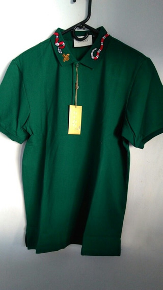 Playera Tipo Polo Gucci Verde Talla Xl