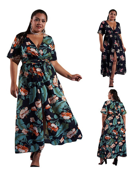 Women Plus Size Long Dress Floral Print Plunge V-neck High