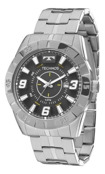 Relógio Masculino Technos Prateado Com Preto 2115kyx1p