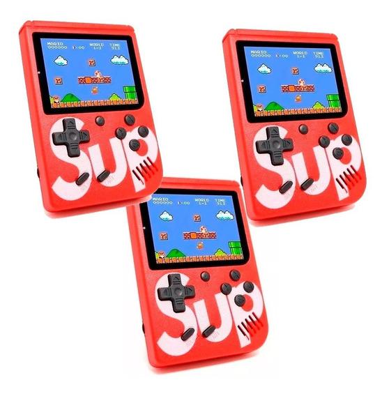 Kit De 3 Game Box Sup 400 Juegos Mini Consola Recargable Cable Av + Envio Gratis
