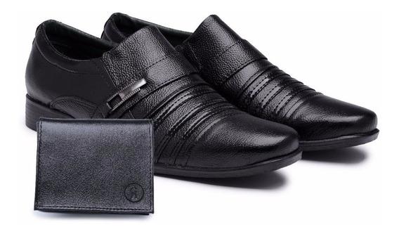 Sapato Masculino Social Casual Kit + Carteira Verniz Brilhoso Couro Legitimo
