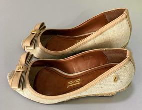 Sapato Lolla Com Solado Corda Nude Tab 36 Peep Toe Rustico
