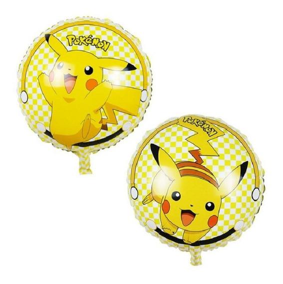 Paquete De 5 Globos Picacho Fiesta Temática Pokemon
