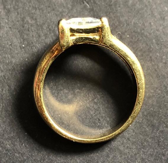 Anel Banhado A Ouro Com Pedra Triangular