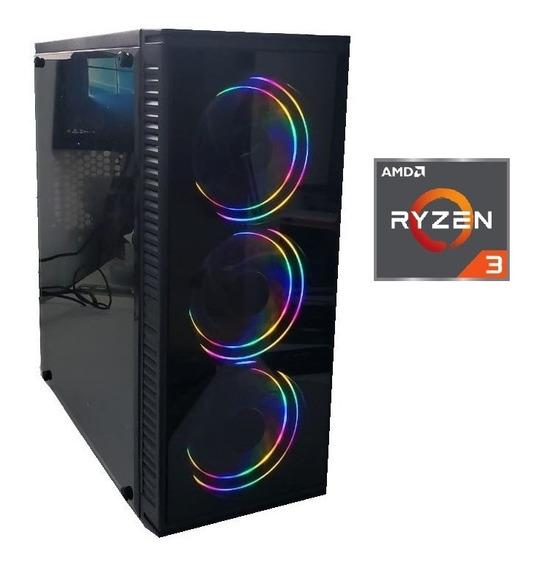Cpu Gamer Amd Ryzen3 2200 Vga Vega 2gb 8gb Ssd 120gb 3 Leds