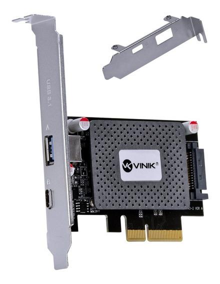 Placa Usb Pci Express X4 Vinik 3.0 1 Tipo C 3.1 Low Profile