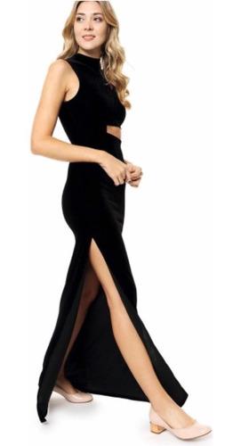 Imagen 1 de 8 de Vestido Largo Con Tajo Y Recortes Fiesta Casamiento Noche